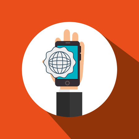 sms payment: hand cellphone global connected vector illustration eps 10