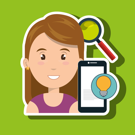 navigator: woman smartphone search idea vector illustration eps 10