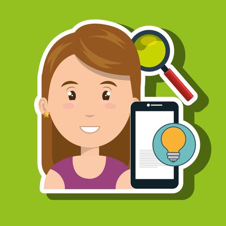 woman cellphone: woman smartphone search idea vector illustration eps 10