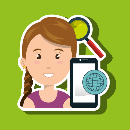 woman cellphone: woman smartphone search global vector illustration eps 10 Illustration