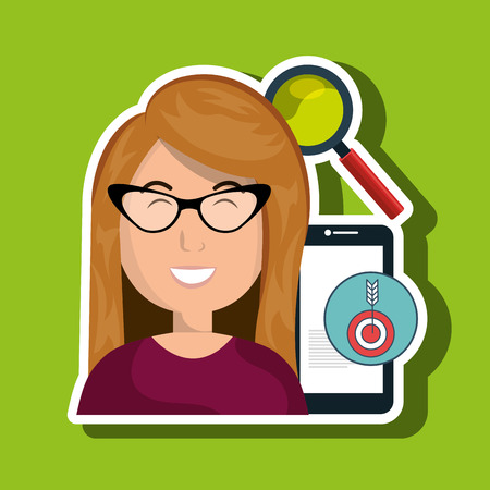 woman smartphone: woman smartphone search target vector illustration Illustration