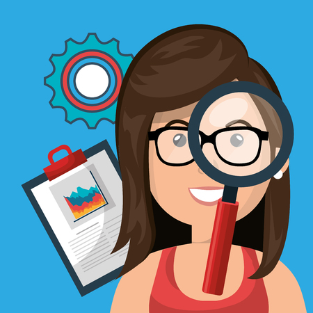 woman clipboard search gear vector illustration