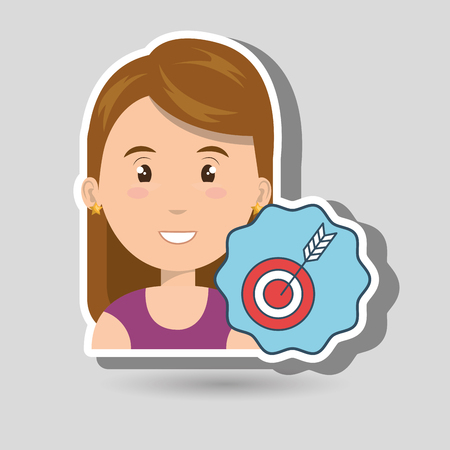 objective: woman target objective market vector illustration Illustration