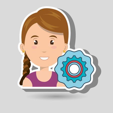 innovator: woman gear wheel teamwork vector illustration