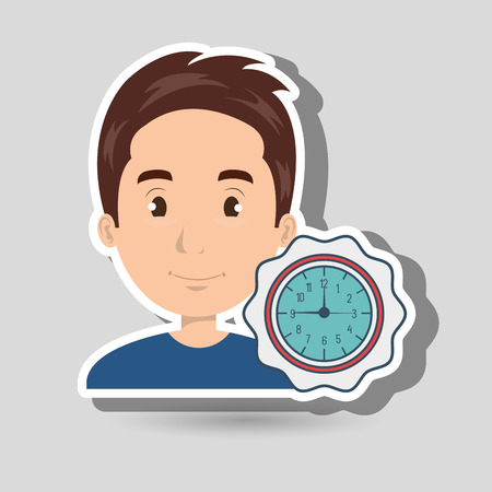 man watch clock time vector illustration
