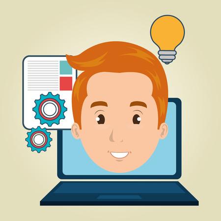 man with laptop: man laptop document idea vector illustration