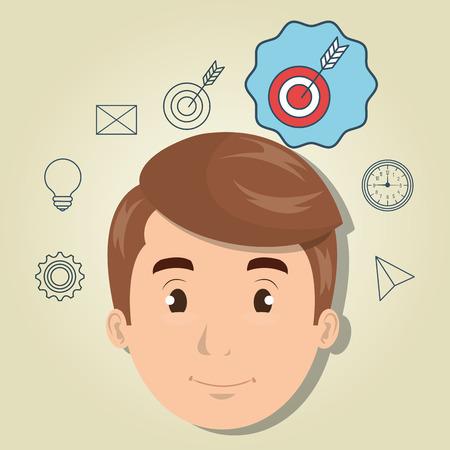 excellence: man boy web icon vector illustration