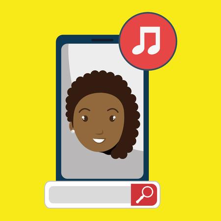 music lyrics: mujer de búsqueda en línea aplicación de ilustración vectorial Vectores