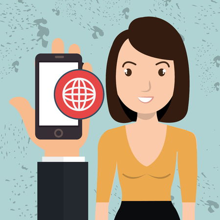 woman cellphone: hand cellphone woman icon vector illustration