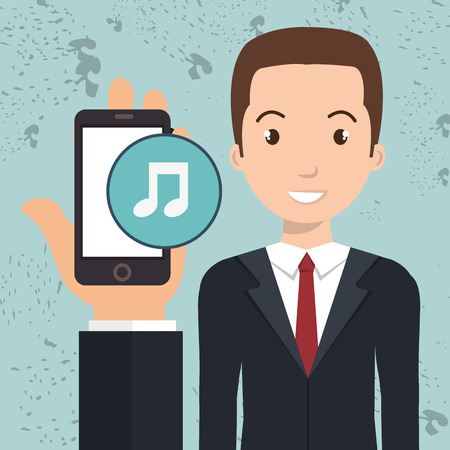 cellphone in hand: hand cellphone man icon vector illustration