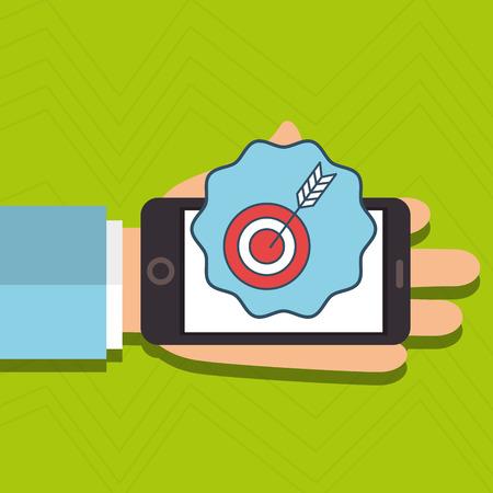 target arrow: hand cellphone target arrow vector illustration