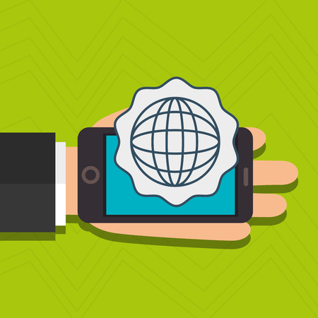 sms payment: hand cellphone global connected vector illustration