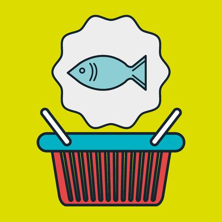 canasta tienda de icono de la ilustración vectorial de mercado