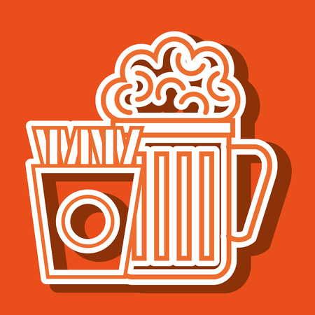 friends eating: glass beer french fries vector illustration Illustration