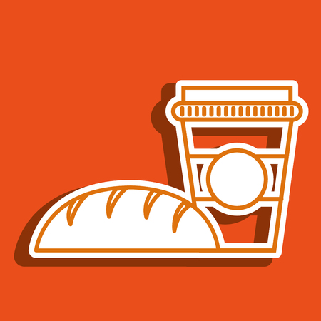 cup coffee bread icon vector illustration Illustration