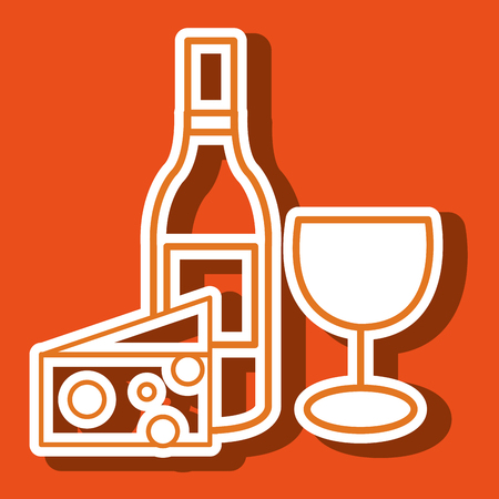 wine and cheese: wine glass cheese icon vector illustration