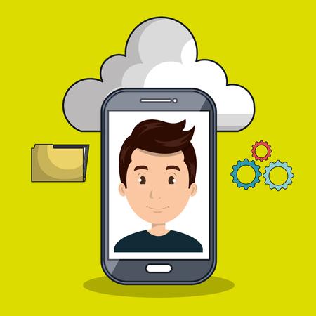 smartphone apps: man cloud smartphone apps vector illustration eps10 Illustration