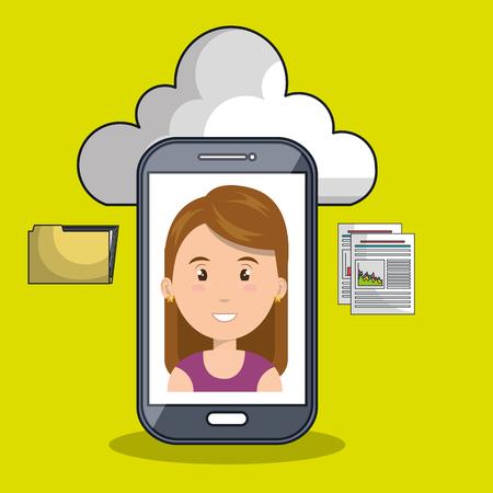 smartphone apps: woman cloud smartphone apps vector illustration eps10 Illustration