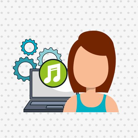 woman laptop: woman laptop gears apps vector illustration eps10