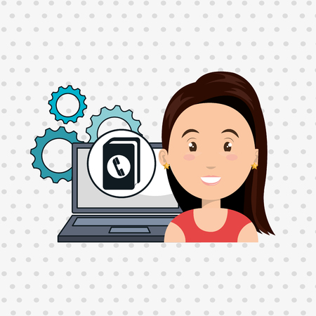 telephone directory: woman laptop gears apps vector illustration eps10