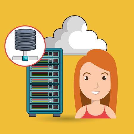 long red hair: woman server computer cloud vector illustration