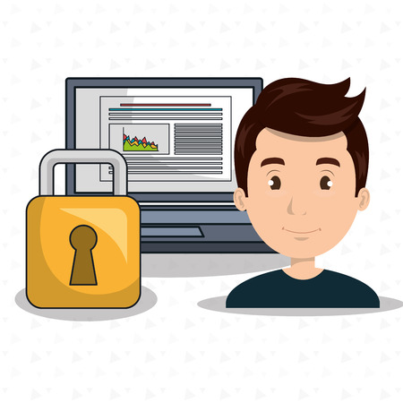 work less: man data base laptop vector illustration
