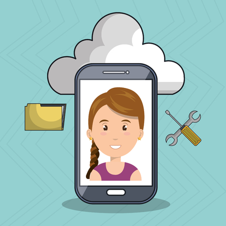 woman smartphone: woman cloud smartphone apps vector illustration