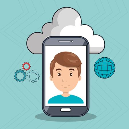 smartphone apps: man cloud smartphone apps vector illustration Illustration