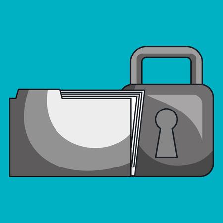 key pad: files folder padlock lock vector illustration Illustration
