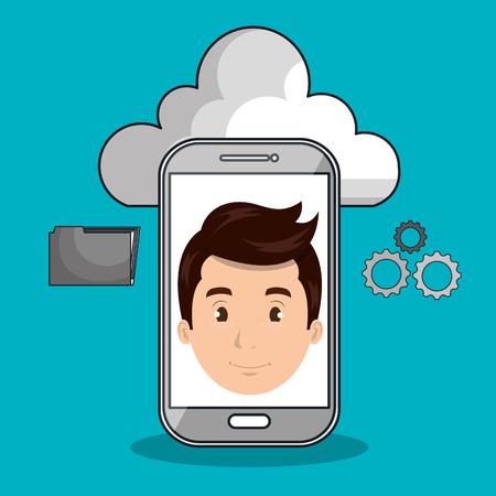 smart man: man cloud smartphone apps vector illustration Illustration