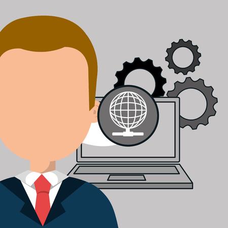 man with laptop: man laptop gears vector illustration
