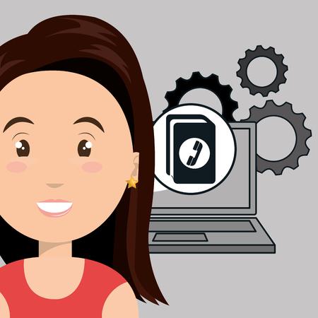 directorio telefonico: engranajes port�til mujer apps ilustraci�n vectorial