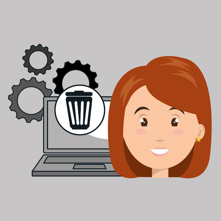 woman laptop gears apps vector illustration Illustration