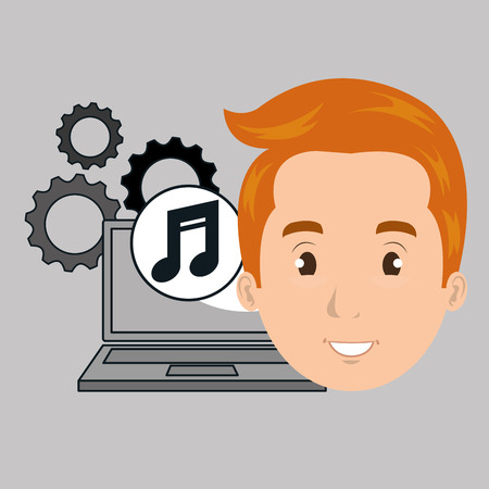 man with laptop: man laptop gears vector illustration