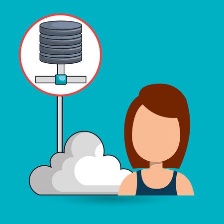 woman cloud connection apps vector illustration