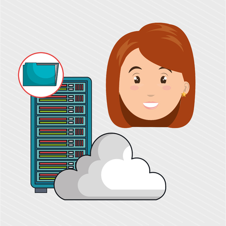 woman server computer cloud vector illustration