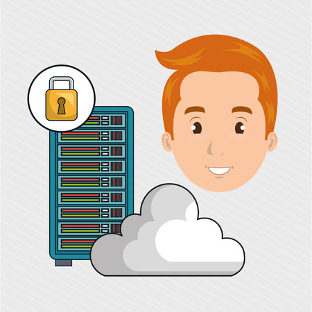 man server cloud computer vector illustration