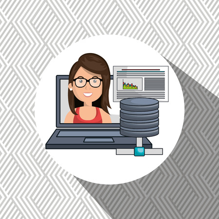 characteristic: woman data base laptop vector illustration