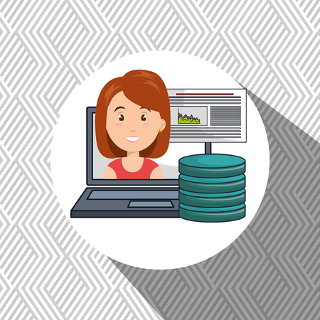 Woman Data Base Laptop Vector Illustration Royalty Free Cliparts ...