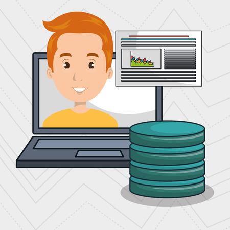 man with laptop: man data base laptop vector illustration