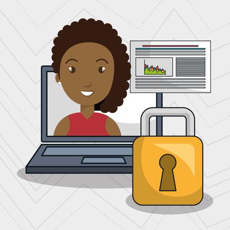 woman data base laptop vector illustration