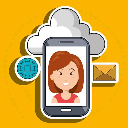 woman cloud smartphone apps vector illustration
