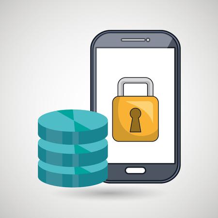 smartphone padlock data base vector illustration