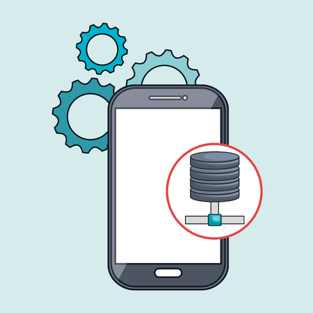 multimedia background: smartphone gears apps vector illustration
