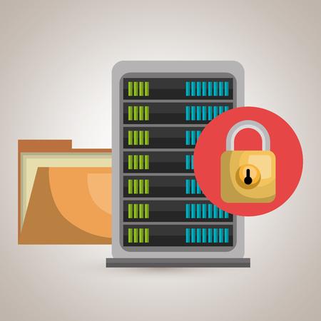 folder lock: server file folder lock vector illustration Illustration