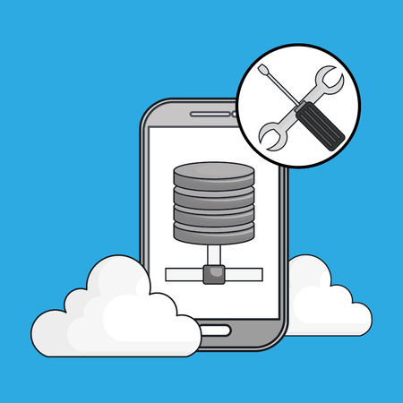 smartphone cloud web vector illustration