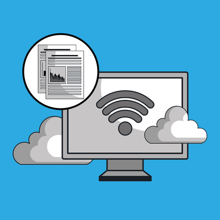 laptop cloud wifi padlock vector illustration