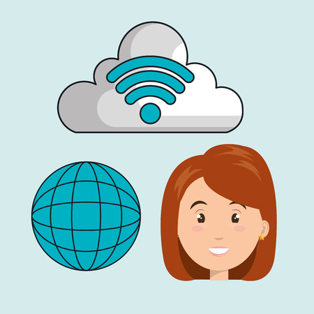 redhair: woman cloud wifi icons vector illustration eps10 Illustration