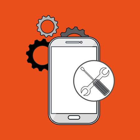 smartphone gears apps vector illustration eps10 eps 10