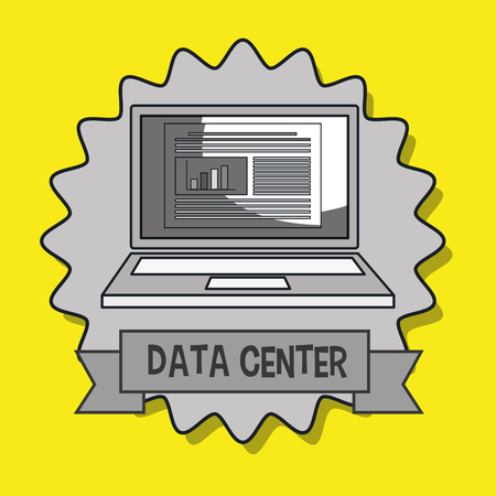 disconnected: data center laptop doc vector illustration eps10